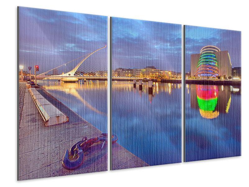 Metallic-Bild 3-teilig Samuel Beckett Bridge
