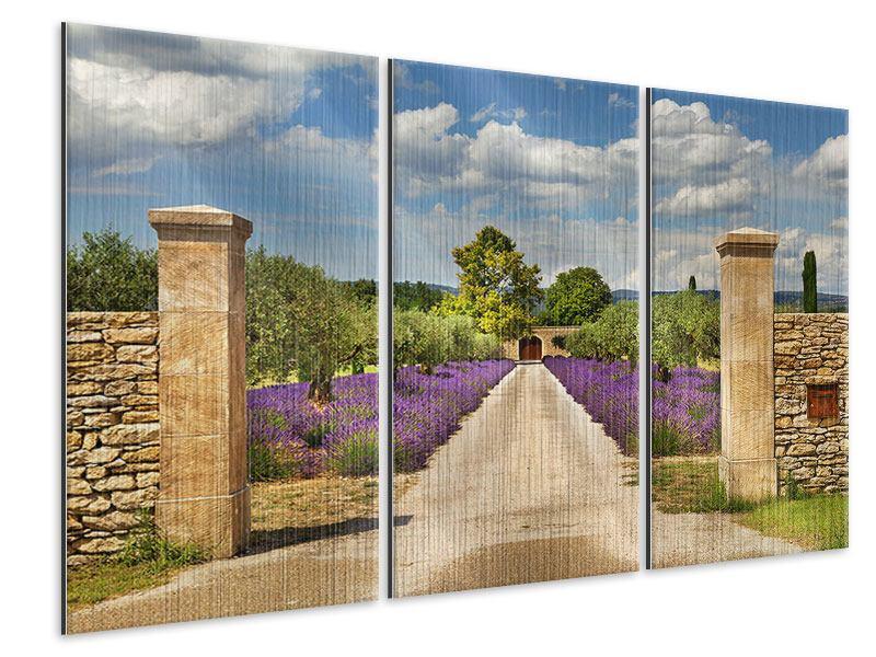 Metallic-Bild 3-teilig Lavendel-Garten