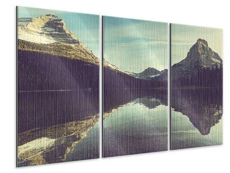 Metallic-Bild 3-teilig Spiegelung im Bergsee