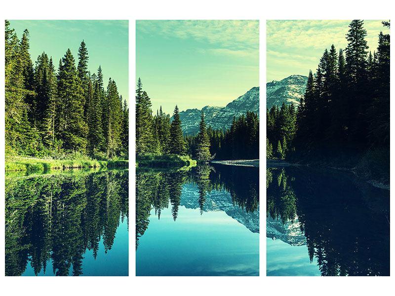 Metallic-Bild 3-teilig Die Musik der Stille in den Bergen