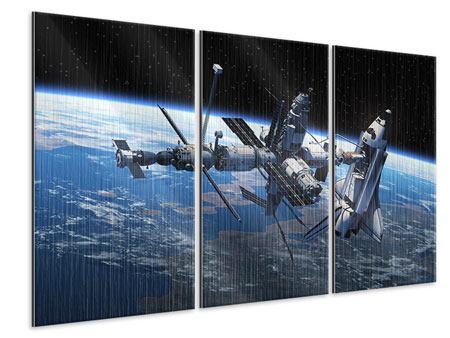 Metallic-Bild 3-teilig Satellit