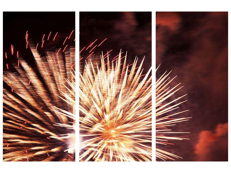 Metallic-Bild 3-teilig Close Up Feuerwerk