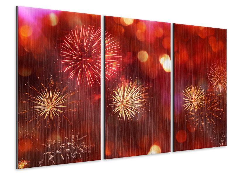 Metallic-Bild 3-teilig Buntes Feuerwerk