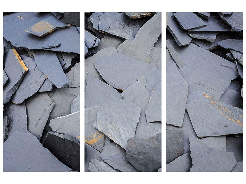 Metallic-Bild 3-teilig Schieferplatten