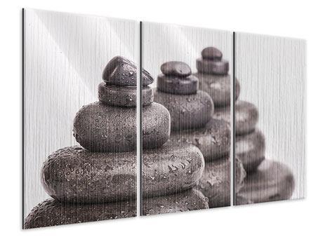 Metallic-Bild 3-teilig Die Kraft der Steine
