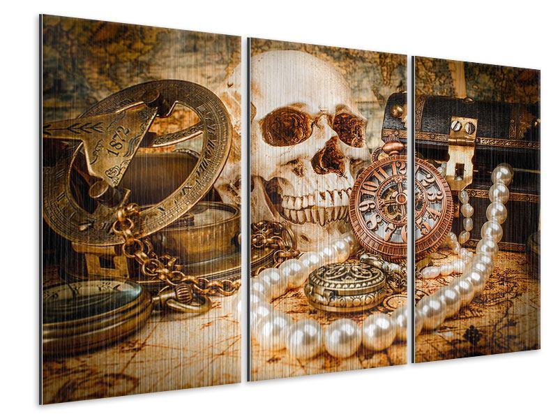 Metallic-Bild 3-teilig Schatzsuche