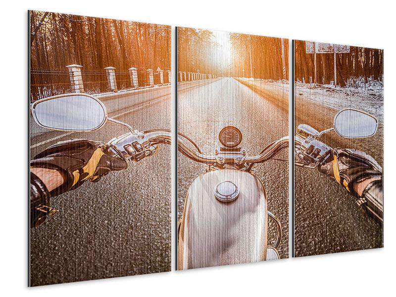 Metallic-Bild 3-teilig Auf dem Motorrad