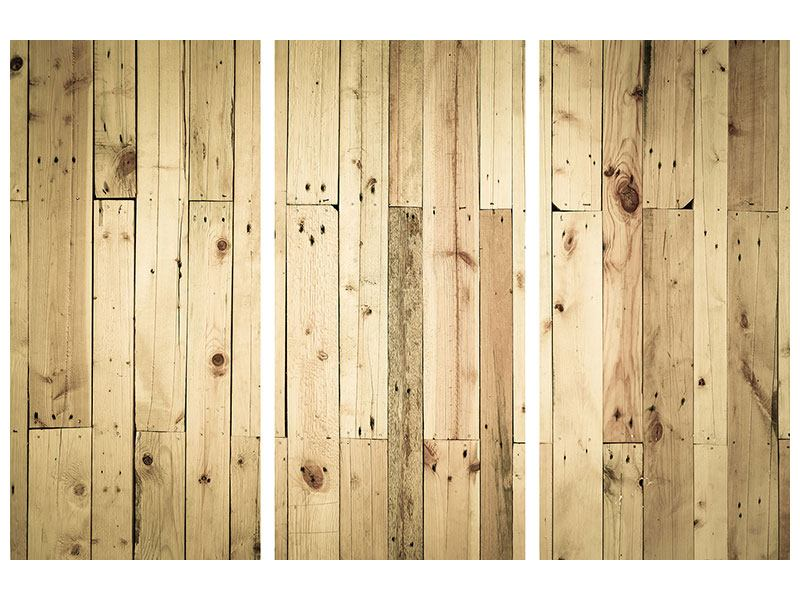 Metallic-Bild 3-teilig Holzpaneelen