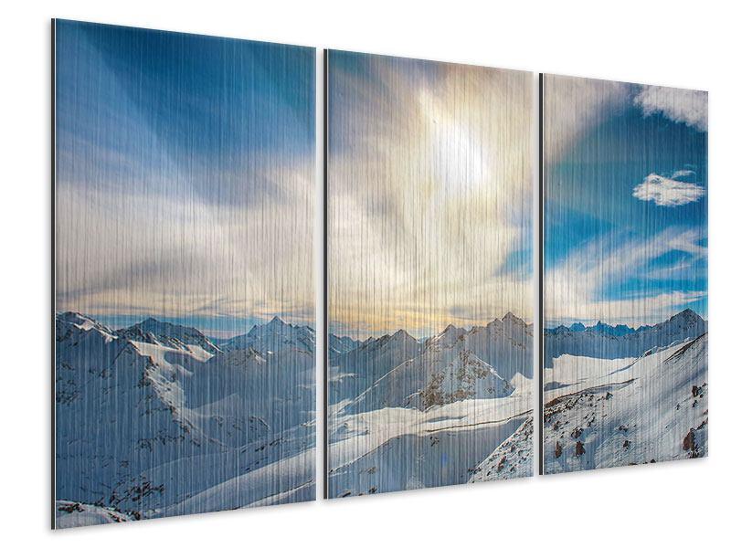 Metallic-Bild 3-teilig Über den verschneiten Gipfeln