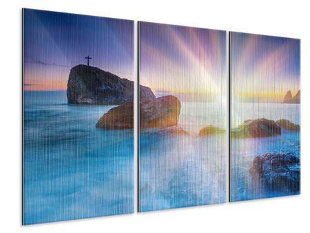 Metallic-Bild 3-teilig Mystisches Meer