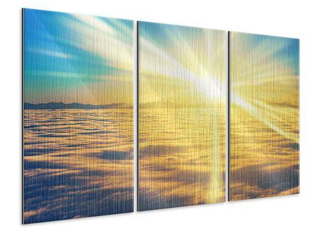 Metallic-Bild 3-teilig Sonnenuntergang über den Wolken