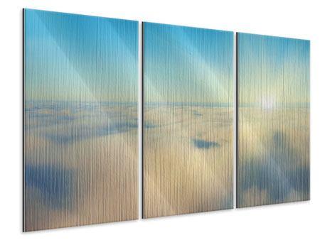 Metallic-Bild 3-teilig Dämmerung über den Wolken