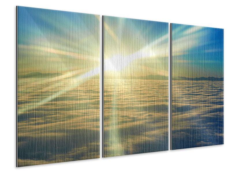 Metallic-Bild 3-teilig Sonnenaufgang über den Wolken