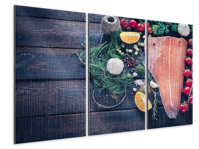 Metallic-Bild 3-teilig Fangfrischer Fisch