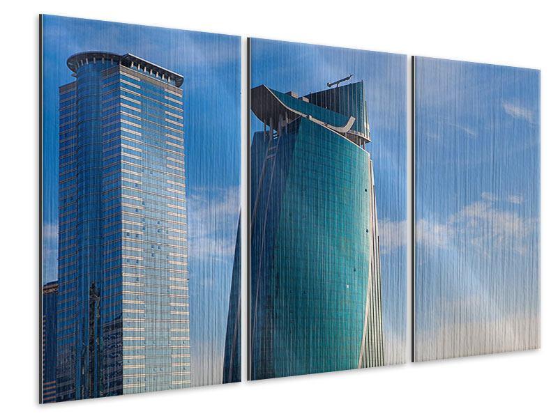 Metallic-Bild 3-teilig Zwei Wolkenkratzer