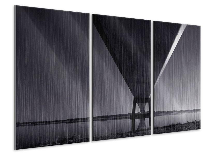 Metallic-Bild 3-teilig Die Brücke über tiefes Wasser