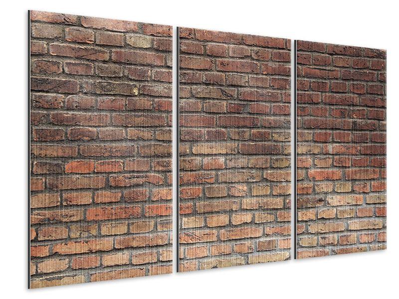 Metallic-Bild 3-teilig Brick Wall