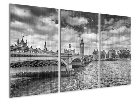 Metallic-Bild 3-teilig Westminster Bridge