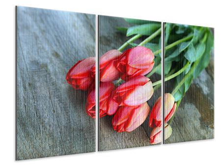 Metallic-Bild 3-teilig Der rote Tulpenstrauss