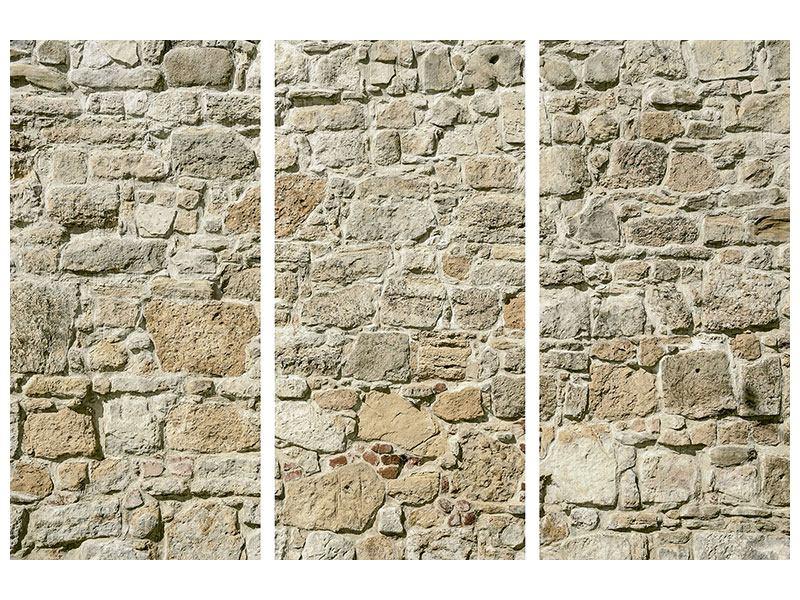 Metallic-Bild 3-teilig Naturmauer