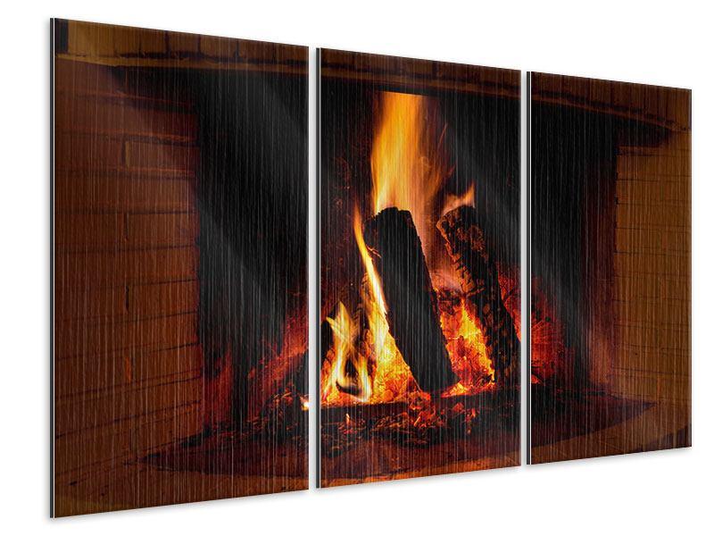 Metallic-Bild 3-teilig Feuer im Kamin