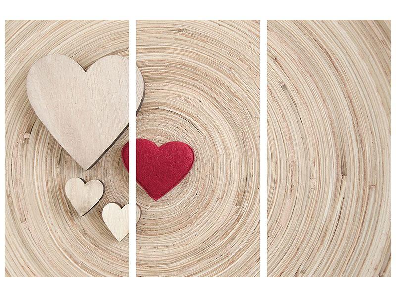 Metallic-Bild 3-teilig Herzen