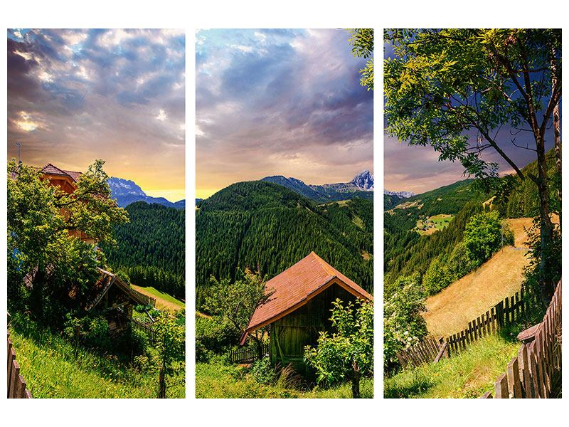 Metallic-Bild 3-teilig Schweizer Berge im Sommer