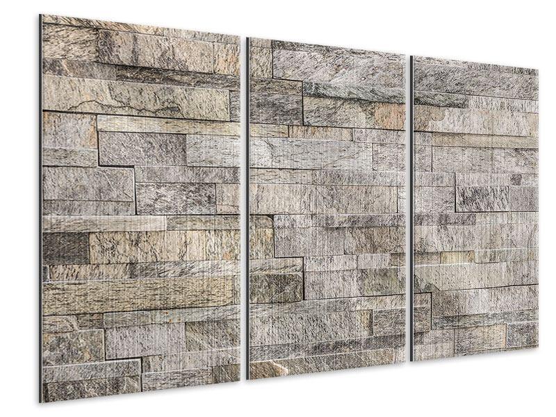 Metallic-Bild 3-teilig Elegante Steinmauer