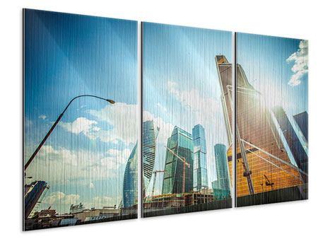 Metallic-Bild 3-teilig Wolkenkratzer Moskau