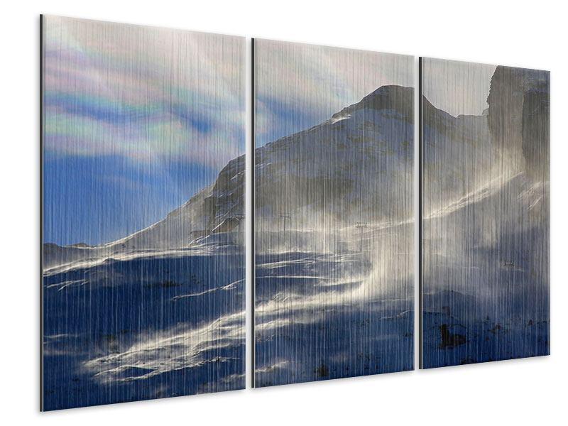 Metallic-Bild 3-teilig Mit Schneeverwehungen den Berg in Szene gesetzt
