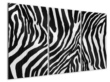 Metallic-Bild 3-teilig Zebramuster