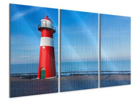 Metallic-Bild 3-teilig Sommer beim Leuchtturm