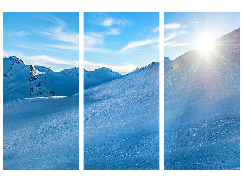 Metallic-Bild 3-teilig Sonnenaufgang in den Bergen