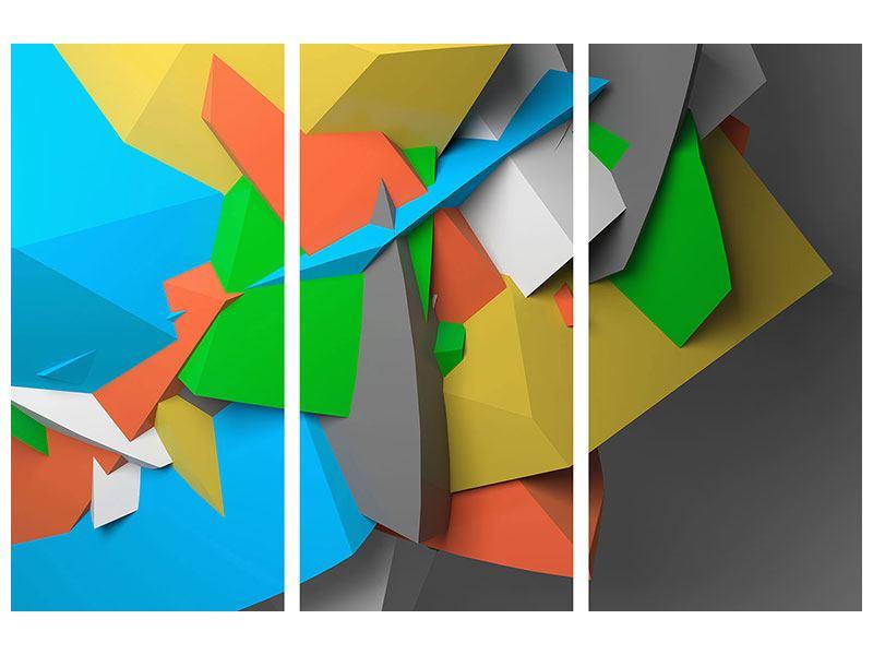 Metallic-Bild 3-teilig 3D-Geometrische Figuren