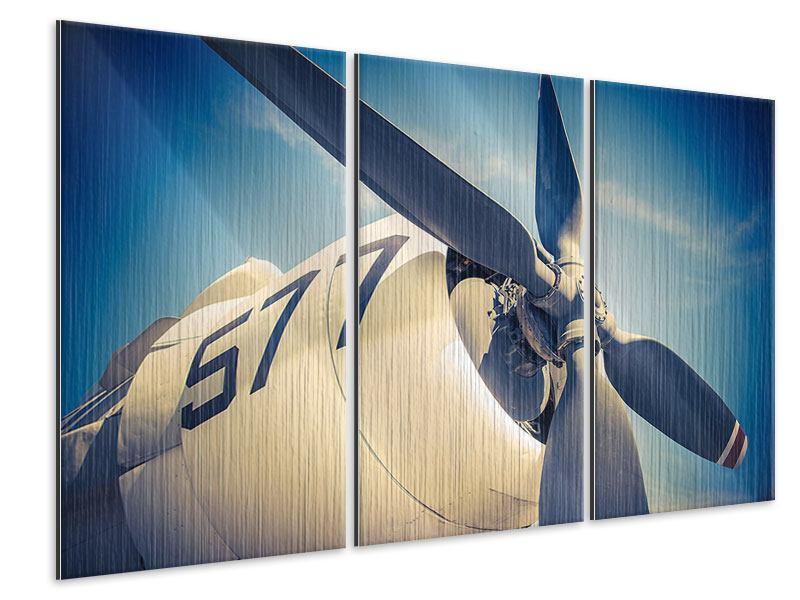 Metallic-Bild 3-teilig Close Up Propellerflugzeug