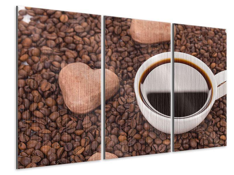 Metallic-Bild 3-teilig Pausenkaffee