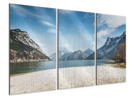 Metallic-Bild 3-teilig Der idyllische Bergsee