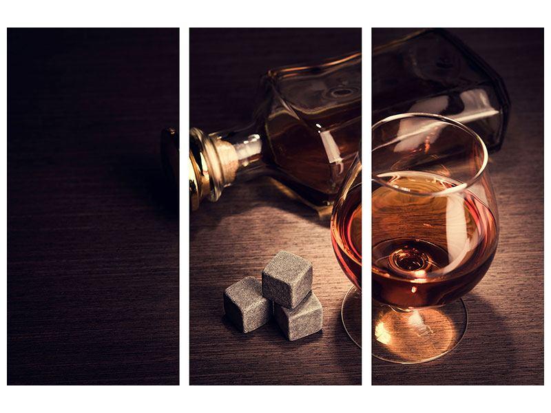 Metallic-Bild 3-teilig Ein Glas Cognac