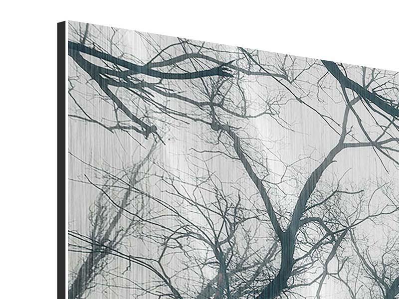 Metallic-Bild 3-teilig Mysteriöse Stimmung im Wald