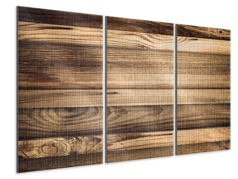 Metallic-Bild 3-teilig Holztrend