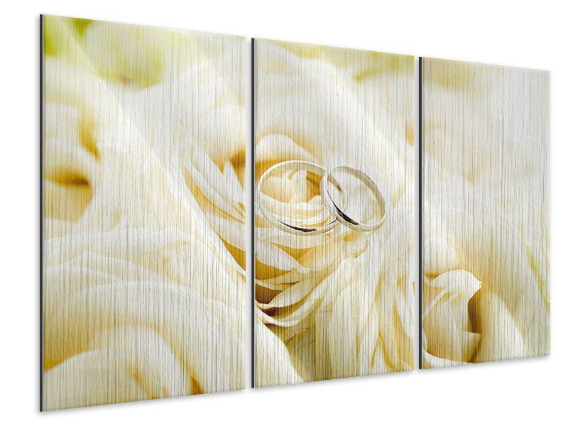 Metallic-Bild 3-teilig Trauringe auf Rosen gebettet