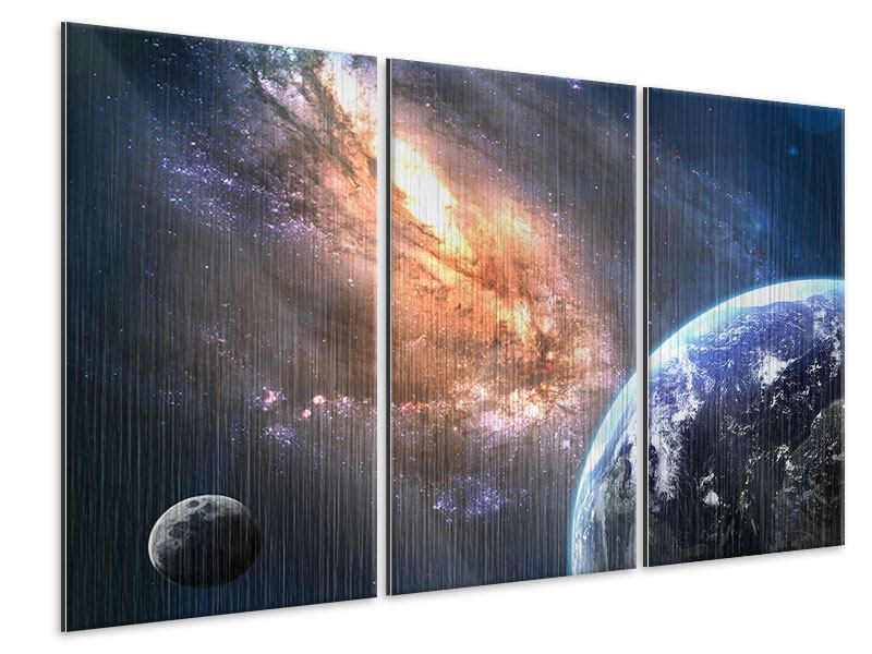 Metallic-Bild 3-teilig Universus