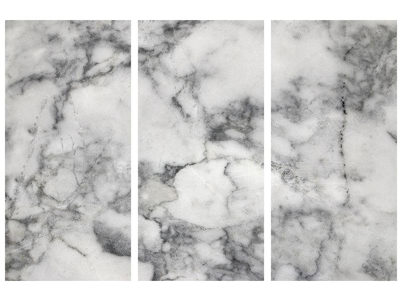 Metallic-Bild 3-teilig Klassischer Marmor