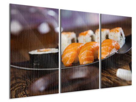 Metallic-Bild 3-teilig Sushi-Gericht