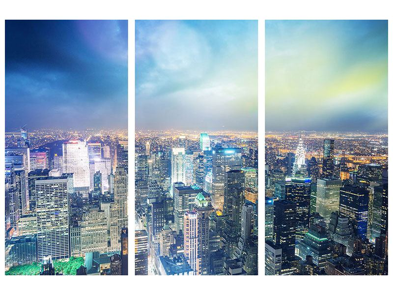 Metallic-Bild 3-teilig Skyline NY bei Sonnenuntergang