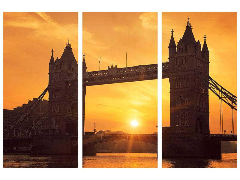 Metallic-Bild 3-teilig Sonnenuntergang bei der Tower-Bridge