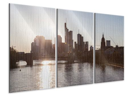 Metallic-Bild 3-teilig Skyline Sonnenaufgang bei Frankfurt am Main