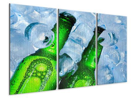 Metallic-Bild 3-teilig Eisflaschen