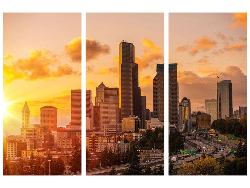 Metallic-Bild 3-teilig Skyline Washington