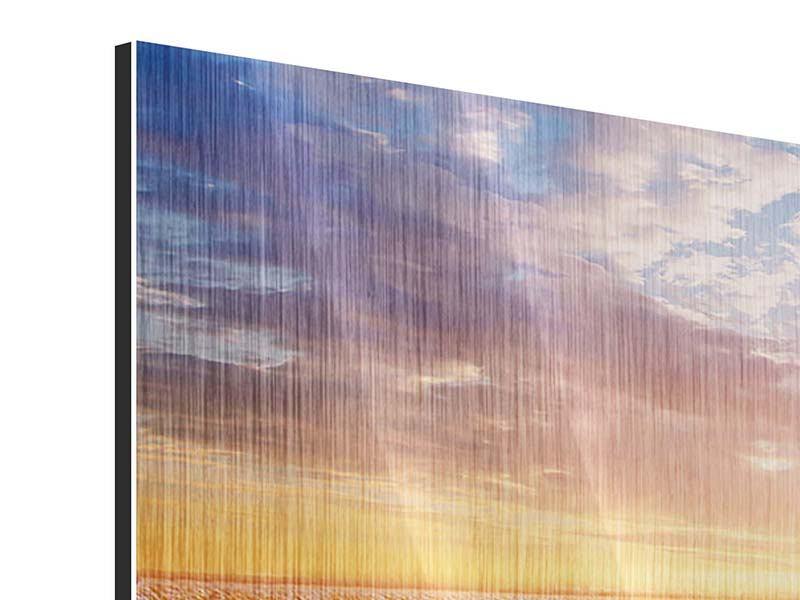 Metallic-Bild 3-teilig Sonnenaufgang bei den Tulpen